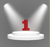 Number one.podium on a transparent background.lit white scene.the podium of winners. Vector illustration.spotlight Stock Image