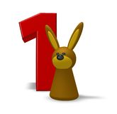 Number one and rabbit. 3d illustration Royalty Free Stock Photo