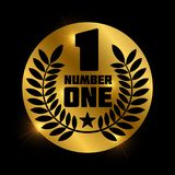 Number one retro label on shiny golden circle. Number 1 label and badge, vector illustration Royalty Free Stock Photos