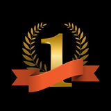 Number one with ribbon and laurel wreath Stock Photography
