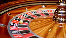 Number one at roulette wheel. Number one at the roulette wheel in casino close up details royalty free stock image