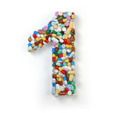 Number 1 one. Set of alphabet of medicine pills, capsules, table Stock Photography