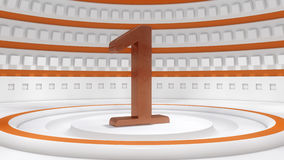 Number one set. 3d Number one futuristic set stage Stock Photography