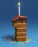 Number one shaped birthday cake with candle Royalty Free Stock Photo