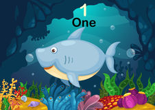 Number one shark under the sea vector. Illustration of number one shark under the sea vector Royalty Free Stock Image