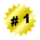 Number one sign. Illustration of a yellow star button with #1 on it. metaphor for success, competition or quality Stock Photo