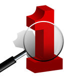 Number One 1 Sign Behind a Magnifying Glass  on White Stock Images