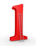 Number one symbol and a ladder. 3d number one symbol and a ladder leaning to it Stock Images