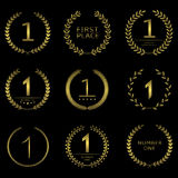 Number one symbol. Set. First place logos, golden award signs Royalty Free Stock Photos