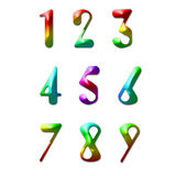Number one to nine. Made from rainbow color Royalty Free Stock Photography