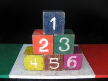 Number one to six arrange in pyramid. Royalty Free Stock Photos