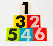 Number one to six arrange in pyramid Royalty Free Stock Photography