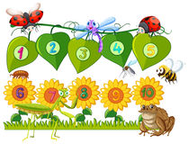 Number one to ten on leaves and flowers. Illustration Stock Image