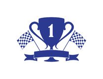Number one trophy speed racing themed illustration vector design. Number one trophy with ribbon banner speed racing themed illustration vector design template stock illustration