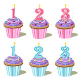 Number one, two, three cupcake Royalty Free Stock Image