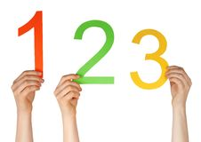 Number one, two, three. Hands holding uo the numbers one, two, three, isolated Stock Photography