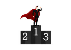 Number one And the winner is businessman superhero Royalty Free Stock Photo