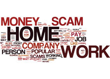 The Number One Work At Home Scam Explained Text Background  Word Cloud Concept. THE NUMBER ONE WORK AT HOME SCAM EXPLAINED Text Background Word Cloud Concept Royalty Free Stock Images
