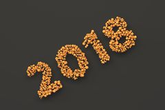 2018 number from orange balls on black background. 2018 new year sign. 3D rendering illustration Royalty Free Stock Photos