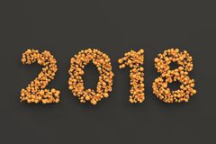 2018 number from orange balls on black background. 2018 new year sign. 3D rendering illustration Stock Photo