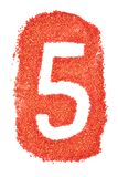 Number 5 on orange sand. stock illustration