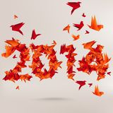 Number 2014 with origami birds. This is file of EPS10 format stock illustration