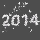 Number 2014 with origami birds Stock Photography
