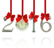 2016 number ornaments with clock Stock Photography