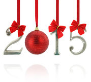 2015 number ornaments. Hanging on red ribbons Royalty Free Stock Photo