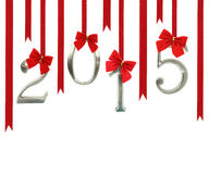 2015 number ornaments. Hanging on red ribbons royalty free illustration