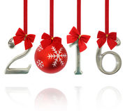 2016 number ornaments. Hanging on red ribbons Royalty Free Stock Photo