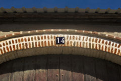 Number over Brickwork arch Stock Image