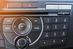 Number Pad of Car Dashboard. With Sun Light Stock Photography