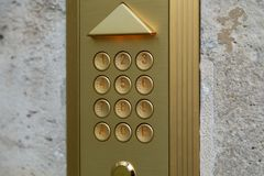 Number pad on door, number keypad on door.  Royalty Free Stock Images