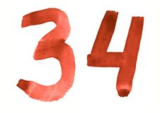 The number 34, painted with a brush in watercolor. Vintage symbol. Made by hand royalty free illustration