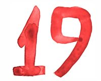 The number 19, painted with a brush in watercolor. Vintage symbol stock illustration