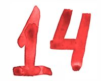 The number 14, painted with a brush in watercolor. Vintage symbol royalty free illustration