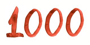 The number 1000, painted with a brush in watercolor. Vintage symbol royalty free illustration