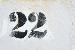 Number 22. Painted on metal Stock Photo