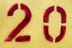 Twenty. Number 20 painted with red paint and a stencil Stock Photo