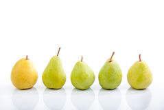 Number of pears on a white background Stock Image