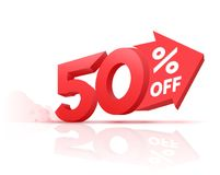 Number percent off with big arrow 3D style. For sale banner promotion. Vector illustration Stock Photography