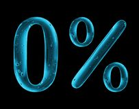 Number 0 and percent sign is made of water on black background.  royalty free illustration