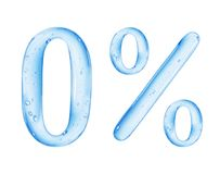 Number 0 and percent sign is made of water on white background.  royalty free stock images