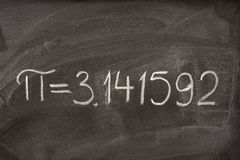 The number pi on a blackboard Stock Image