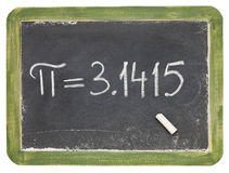 The number pi on a small blackboard Royalty Free Stock Image