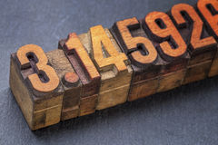 The number pi in wood type Stock Image
