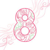 Number 8 with pink dotted rose and swirls  on white background. Stock Images
