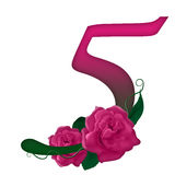 Number 5 pink floral. Pink rose decorated number 5 colorful and Stock Photos