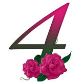 Number 4 pink floral. Pink rose decorated number 4 colorful and Royalty Free Stock Photos